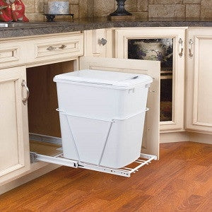 Single Bottom Mount w/ Lid Reduced Depth White Wire Waste Containers