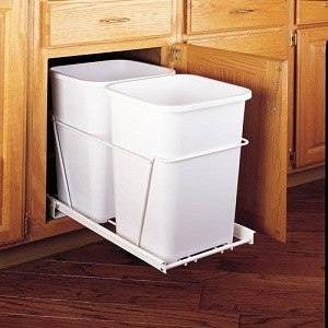 Double 27 Qt. Pull-Out White Waste Containers with Full-Extension Slides