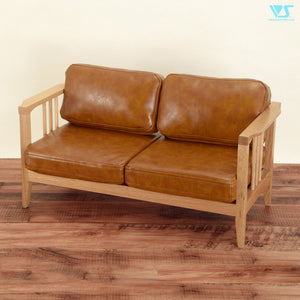 Wood Frame Sofa (Synthetic Oil Leather / Camel)