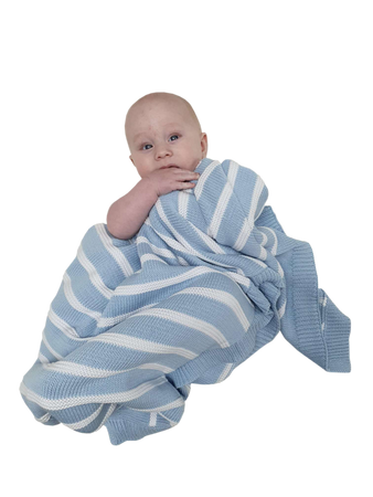 Sleep Tight Cotton Knit Blanket BLUE STRIPES