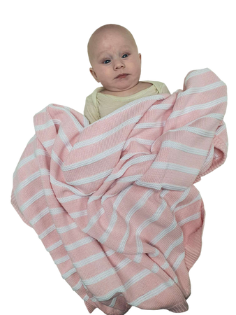 Sleep Tight Cotton Knit Blanket PINK STRIPES