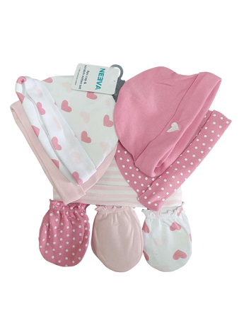 Neeva 8 Piece Hat & Mitten Set HEART