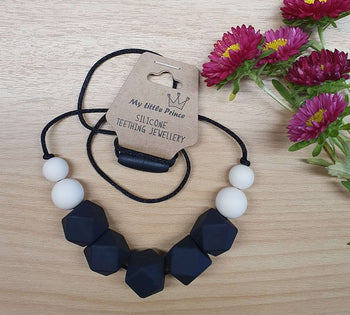 My Little Prince Teething Necklace - BLACK & CREAM