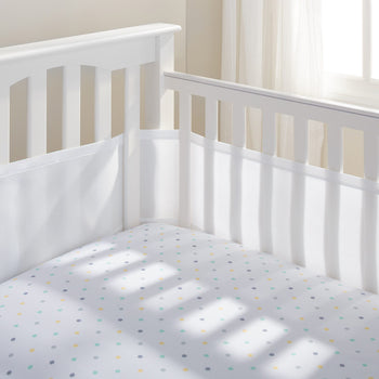 Breathable Baby Mesh Cot Liner 4 Sides - White