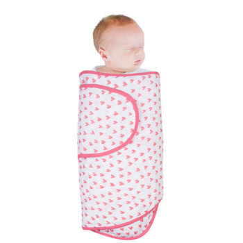 Miracle Blanket Swaddle - CORAL HEARTS