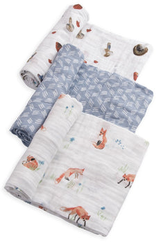 Little Unicorn 3 Pack Cotton Muslin Swaddle - Fox