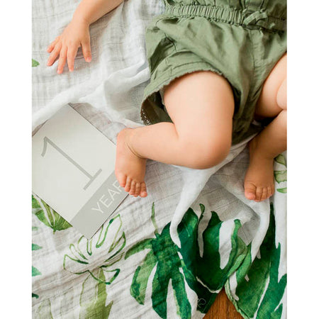 Little Unicorn Photo Blanket & Milestone Set - Tropical Leaf