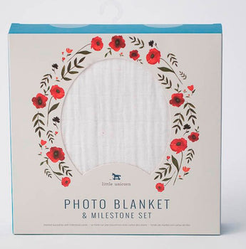 Little Unicorn Photo Blanket & Milestone Set - Summer Poppy