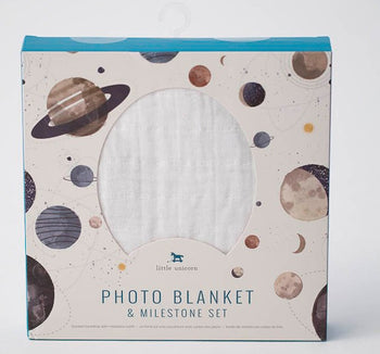 Little Unicorn Photo Blanket & Milestone Set - Planetary