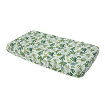 Little Unicorn Cotton Muslin Cot Sheet - Tropical Leaf
