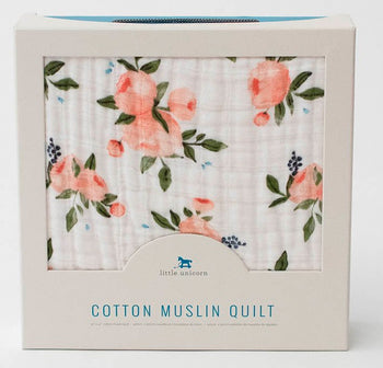 Little Unicorn Muslin Quilt WATERCOLOUR ROSES - Babyonline
