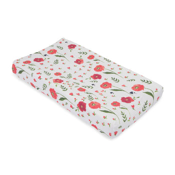 Little Unicorn Muslin Changing Pad Cover - Summer Poppy