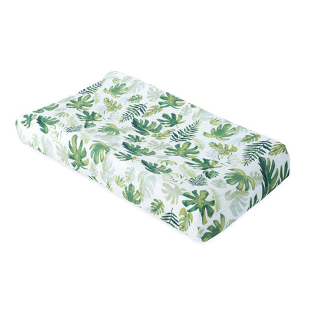 Little Unicorn Muslin Changing Pad Cover - Tropical Leaf