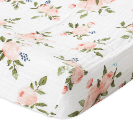 Little Unicorn Muslin Changing Pad Cover - Watercolour Roses