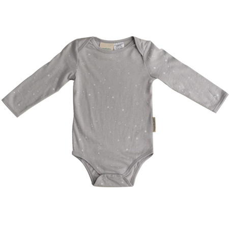 Woolbabe Long Sleeve Bodysuit - Pebble Stars