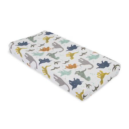 Little Unicorn Muslin Changing Pad Cover -  Dino Friends
