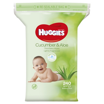 Huggies Baby Wipes Cucumber & Aloe (240 Wipes) - Babyonline