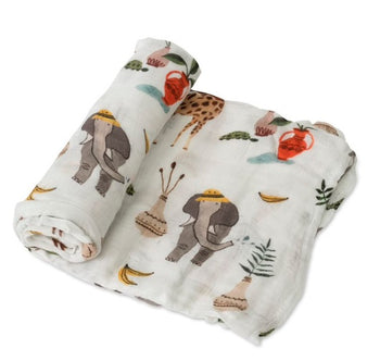 Little Unicorn Single Deluxe Muslin Swaddle - Safari