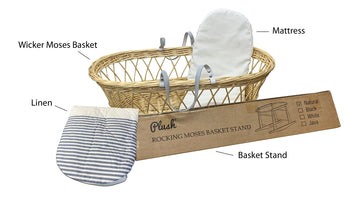 Natural Wicker Flat Moses & Linen Set  - White with Blue Striped Skirt
