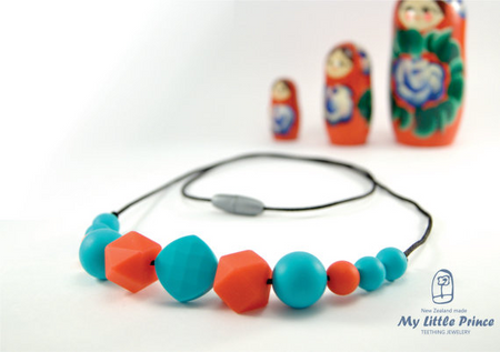 My Little Prince Teething Necklace - TURQUOISE & SCARLET RED