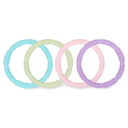 Bumkins Silicone Teething Rings - Pack of 4