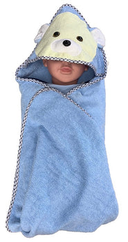 Bear Hooded Bath Towel - Blue - Babyonline
