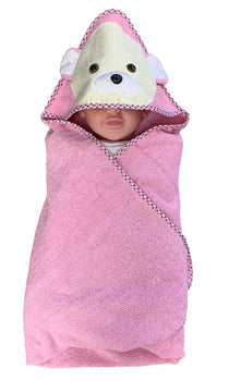 Bear Hooded Bath Towel - Pink - Babyonline