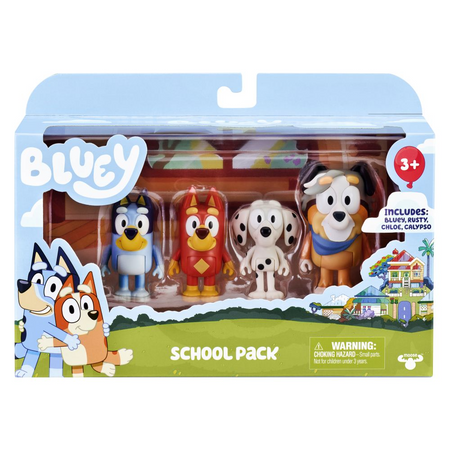 Bluey Figurines 4 Pack – School Pack