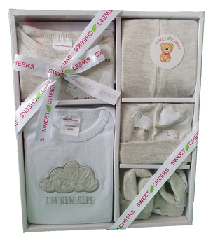 Sweet Cheeks 5 Piece Clothing Gift Set - GREY SHEEP - Babyonline