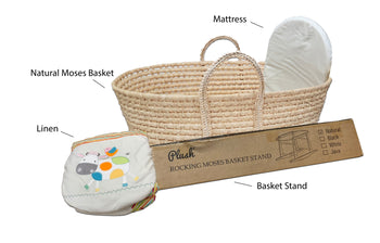 Natural Moses Basket & *Super Soft* Linen Set MB13 - Multi Stripes/Happy Cow