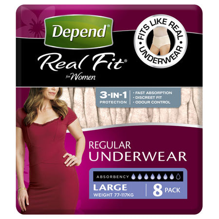 Depend® Real-Fit Underwear for Women  - Large  pack of 8 pcs - Babyonline