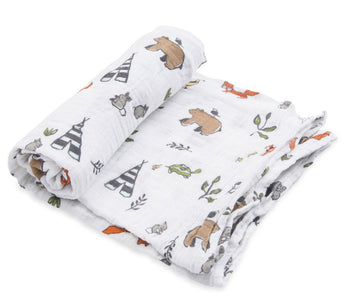 Little Unicorn Single Muslin Swaddle - Forest Friends