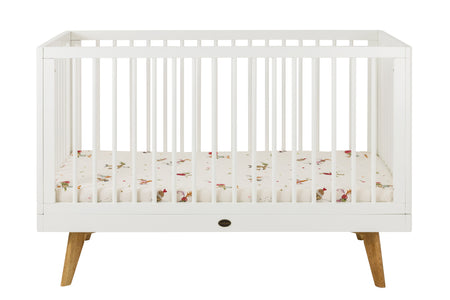 Vesta Wooden Baby Cot Fixed Sides - White - Babyonline