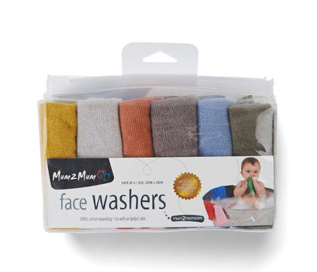 Mum2Mum Face Washers (Pack of 6) EARTH