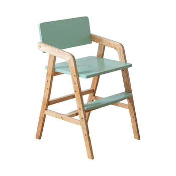 Kapai Lotus Kids Wooden Dining Chair - Natural & Soft Green