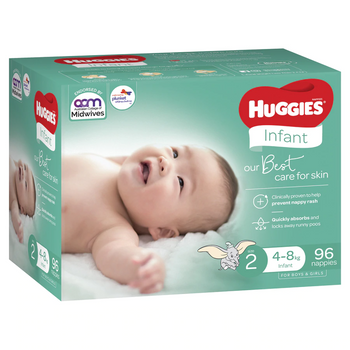 Huggies Ultimate Nappies Jumbo - Size 2 Infant (96 per box)