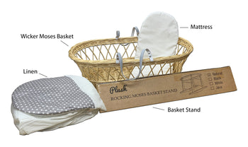Natural Wicker Flat Moses & Linen Set  - Gray with White stars Skirt (Stand is not included) - Babyonline
