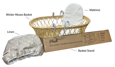 Natural Wicker Flat Moses & Linen Set  - Tan with White Dots