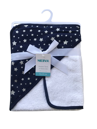 Neeva Hooded Towel with Washcloth STARS