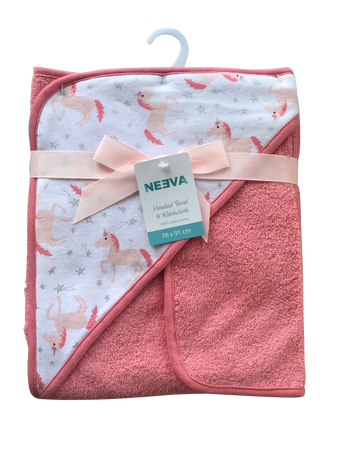 Neeva Hooded Towel with Washcloth UNICORNS