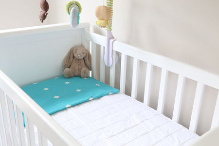 Brolly Sheets Mattress Protector for Cot - Fitted & Quilted - WHITE - Babyonline