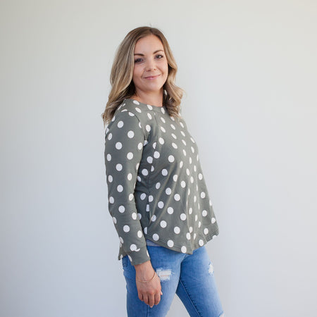 Milkbar Willow Polka Sweater | Sage Marshmallow