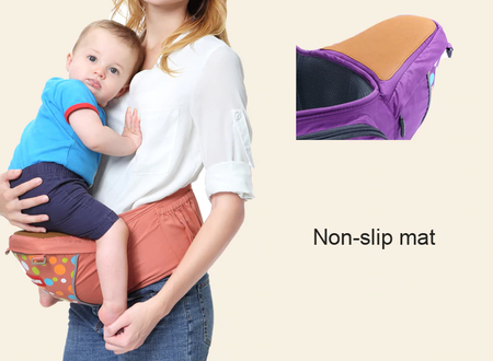 Luxury Multi-Functional Baby Hip Seat Carrier -  Orange with circles - Babyonline