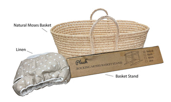 Natural Moses Basket & Linen Set  - Tan with White Dots