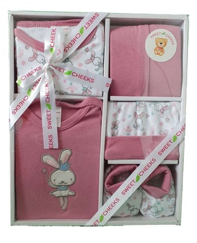 Sweet Cheeks 5 Piece Clothing Gift Set - DUSTY PINK RABBIT