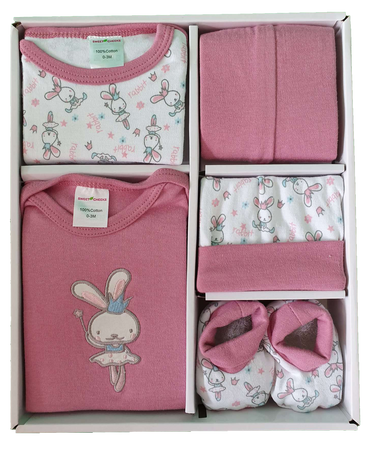 Sweet Cheeks 5 Piece Clothing Gift Set - DUSTY PINK RABBIT - Babyonline