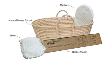 Natural Moses Basket & *Super Soft*   Linen Set MB11 - WHITE (Stand is not included) - Babyonline