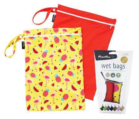 Mum2Mum Wet Bags Twin Pack - FLAMINGO/RED