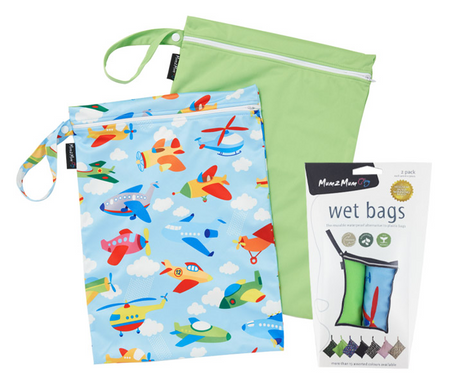 Mum2Mum Wet Bags Twin Pack - PLANE/LIME