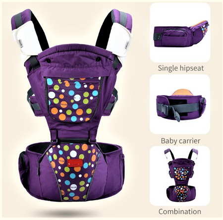 Luxury Multi-Functional Baby Hip Seat Carrier -  Purple with circles - Babyonline